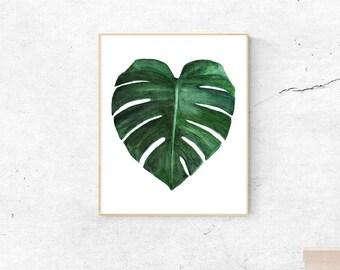 Monstera leaf print, watercolor print, botanical print, printable palm leaf, printable monstera, palm wall art, leaf wall art, printable art