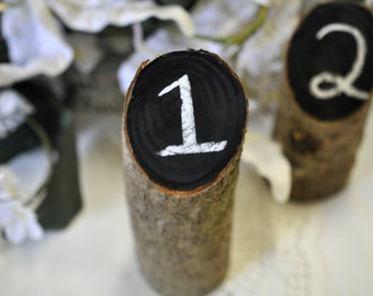 rustic wedding table numbers, log table numbers, country wedding table numbers, rustic wedding decor, outdoor wedding decor