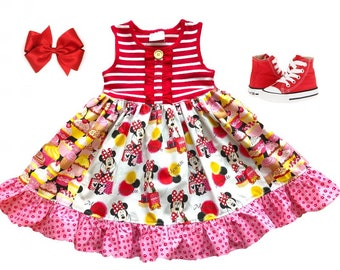 Minnie Mouse birthday dress Gifts for girls Disney Magic Kingdom cupcake dress Girls toddler custom boutique clothing