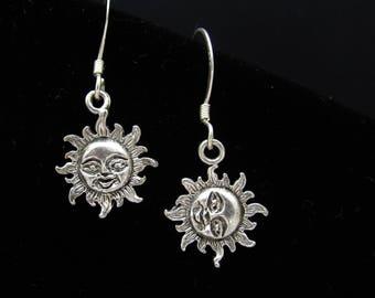 Sterling Silver Earrings, Sun Sunshine, Dainty Petite Pierced, Oxidized Silver Jewelry, Beach Resort Summer Jewelry