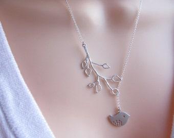 STERLING SILVER Bird Lariat Necklace -Bridal Bridesmaids Necklace-Bird Necklace