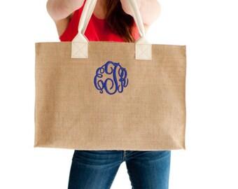 Monogrammed  Tote, Burlap Tote, Monogram Burlap Bag