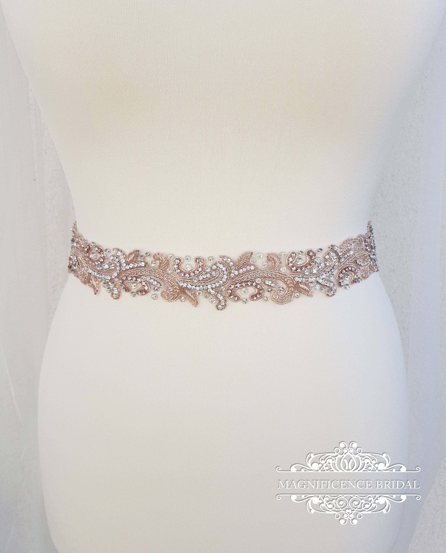 Rose gold bridal belt, Rose gold belt, rose gold sash, luxury ...