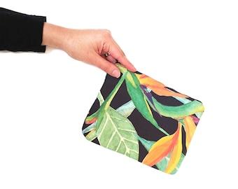Black zipper pouch, Tropical bag, Zipper pouch, Makeup bag organizer, Black small clutch, Passport pouch, Holiday gift, Thanksgiving gift