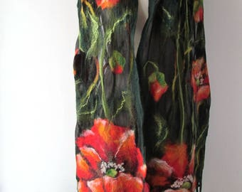 Nuno Felted scarf   Poppy scarf red green flower silk scarf black women scarf by Galafilc gift for her outdoors gift