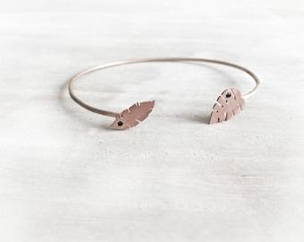 14 K SolidRose Gold Leave Cuff Bracelet, 14 K Rose Gold, Solid Gold Cuff, Wire Bracelet