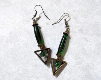 Emerald Green and Brass Earrings (2775)