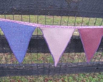 Bunting pennant garland Purple lavender bunting pennants for weddings or birthdays or girls room decor