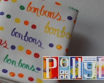 Unique 100% cotton fabric multicoloured modern 'bonbons' motif digitally printed pattern fat quarter original design sold by designer