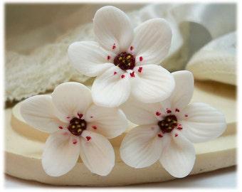 White Cherry Blossom Hair Pins - White Cherry Blossom Bridal Hair Accessories