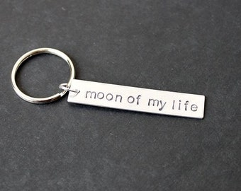 Moon of My Life Keychain, Hand Stamped Keychain, Gifts for Her, Gifts for Him, Anniversary Gift, Wedding, Gift Under 15, Stocking Stuffer