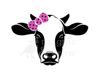 SVG Cow wearing Bow Heifer Bandana Cow Face 4H Cut File for Cricut Explore Air and Silhouette Cameo Farm Girl