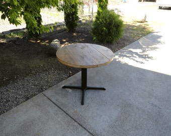 Authentic Round Old Reclaimed Barnwood Restaurant Pedestal Dining Table