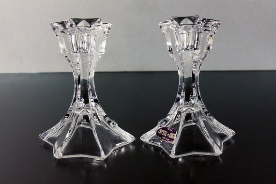 Crystal Candlesticks, DePlomb Crystal, Star Shaped, Crystal Candle Holders, Set of 2, Candles Included, 24% Lead Crystal