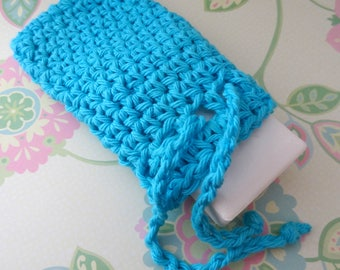 Crochet Saver Bag/Pouch, Soap Sack with Drawstrings in Turquoise - 100% Cotton - Ready to Ship