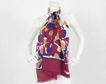 SALE Bianchini Ferier Paris 1970's Vintage Floral Long Pure Silk Signed French Designer Scarf