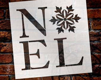 Noel Snowflake Stencil by StudioR12 - Word Art, Christmas, Large Wall, Holiday, Painting on Wood , Mixed Media, Chalk- SELECT SIZE -STCL2004