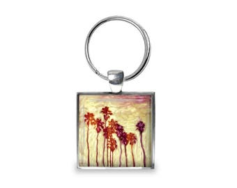 Los Angeles Palm Trees - Glass Photo Keychain - Handmade