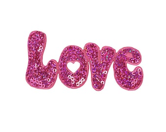 Love Iron On Applique, Love in Pink Sequins Iron On Patch, Sequin Patch, Fun Patch, Embroidered Patch (119374)