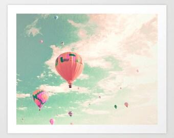Crèche ballon air chaud, art mural extra-large, toile d'art mural, art mural encadré, art mural chambre d'enfant, décor de crèche, turquoise, menthe, rose
