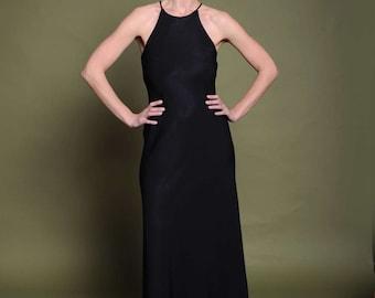 80s black dress Vintage maxi dress Open shoulders gown Halter gown Black crepe dress Minimalist dress Evening gown Party dress Halter dress