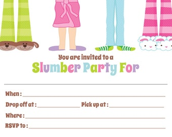Slumber/Sleepover Party Invitation - Fill in  -  Digital file - You print / Pajama Party Invitation / Slumber Party Invitation