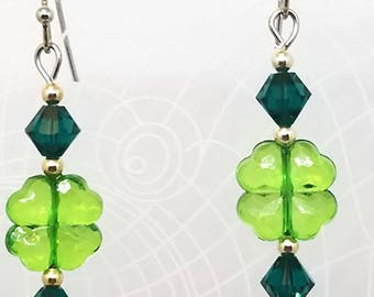 St. Patricks Day Earrings, Swarovski Crystal Clover Earrings, Four Leaf Clover Earrings, Shamrock Earring, St. Patricks Day Jewelry, Emerald