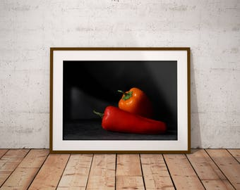Peppers Photography Print, Peppers, Wall Decor, Wall Art, Instant Download, Kitchen Art, Simple Art