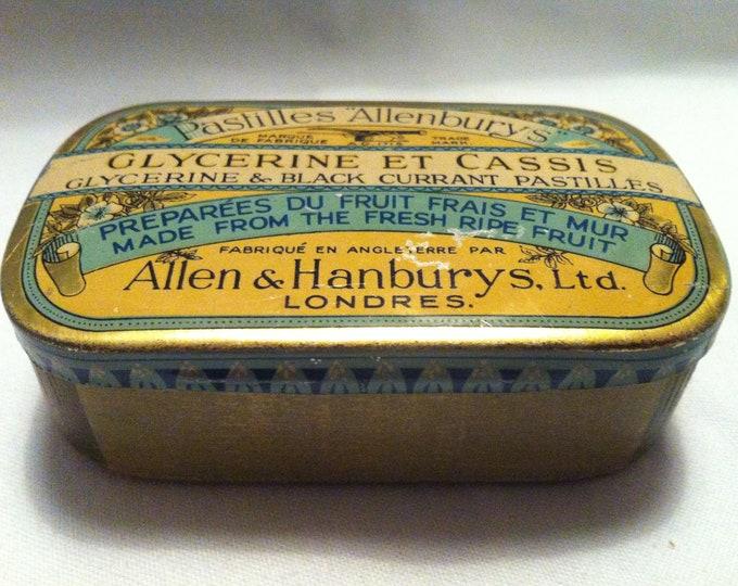 Vintage Tin Tin lithograph Pastilles Allenburys glycerine et cassis collector can