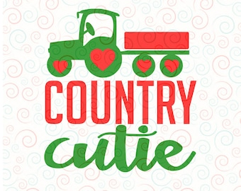 Digital download SVG Country Cutie Valentine's for Girls John Deere for Circut and Silhouette T Shirt Design for Girls