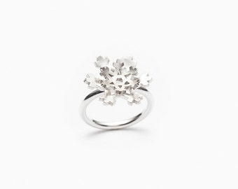 Snowflake sterling silver ring