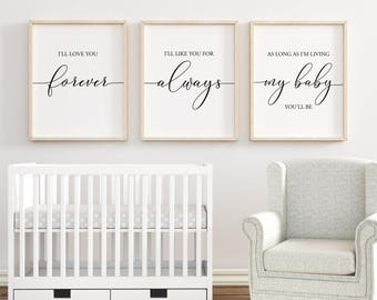 Iu0027ll Love You Forever printable Nursery Wall Art Nursery Decor Baby Shower Gift Baby Girl Nursery Baby Boy Nursery Set of 3  sc 1 st  Etsy & Nursery decor | Etsy