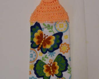 crochet towels, crocheted towels, spring towel, kitchen towel, summer towel, hanging towel, mothers day, butterflies