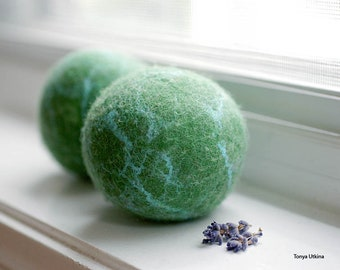 Wool dryer balls, set of two, all natural, eco friendly in green
