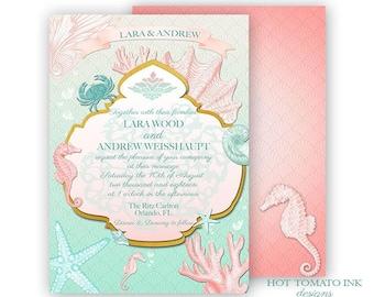 Ocean Wedding Invitation- Beach Wedding invitation- Coral- Nautical Invitation-Under the Sea Invitation- Shells- Seahorse- Printable- Custom