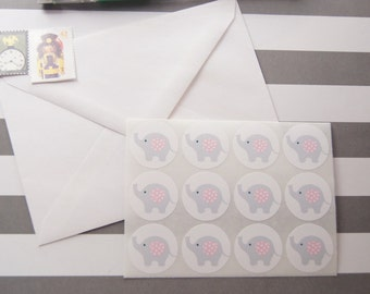 Elephant Gray Pink Stickers Envelope Seals Favor Stickers Birthday Stickers