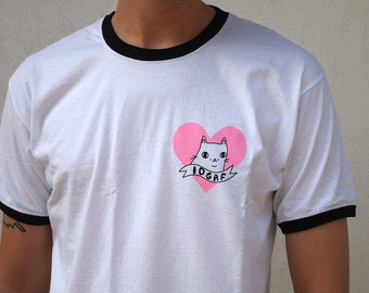 Pre-order Cat tee - IDGAF - Cat tshirt, girl power, gift for him, gift for her, graphic tee, tshirt, feminist shirt, cute shirt, heart