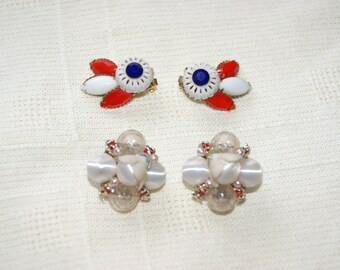 Vintage Multi-Color Rhinestone Beaded Gold Tone Clip On Earring Lot