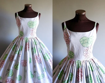 1950s Style Gray Green Pink Floral Print Full Pleated Skirt Cotton Dress