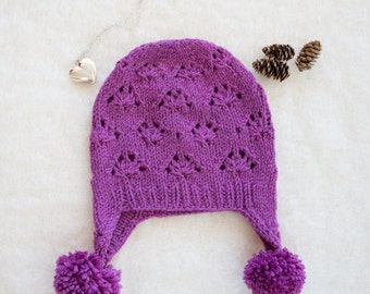 Merino Pink Earflap Hat with Pom-poms