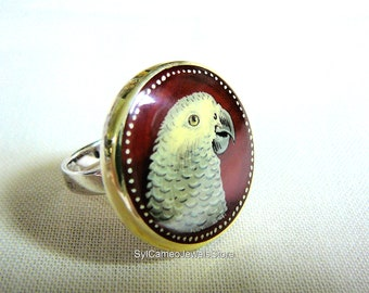 Hand Painted African Grey Parrot Art Cameo Sterling Silver Ring Red Carnelian Gem SylCameoJewelsStore