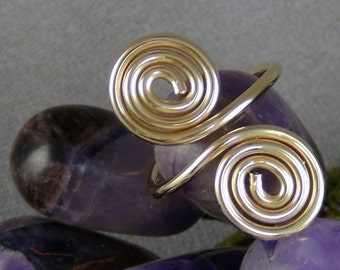 Wirewrapped Adjustable Ring, 16ga 14k Gold Filled Round Wire, fits finger size 7 - 9 - Hand Crafted Artisan Jewelry