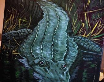 Alligator (acrylic painting, swamp, bayou, gulf coast, louisiana, new orleans, fierce creatures, southern wild, coastal, river, reptile)