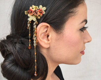 Downton Abbey style beaded hair jewelry - Beaded floral hair clip with dangle color WILD HONEY