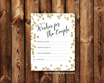 DIGITAL - Wishes for the Couple Advice Cards Bridal Shower Gold Bling Black and White Printable Download Wedding Bridal Cards for the Bride