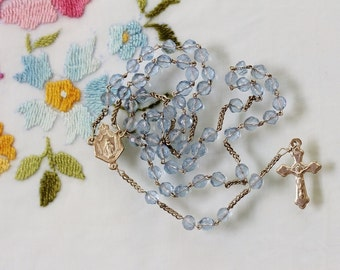 First Communion Catholic Rosary from France - Blue Hand Cut Glass Beads & Trefoil Crucifix