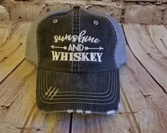Sunshine and whiskey, drinking hat, distressed hat, low profile, beach, party, black, mesh, whiskey, sunshine