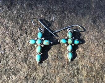 Turquoise & silver cross-shaped drop earrings