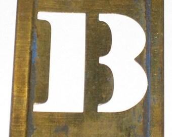 Vintage Brass Stencil Letter B