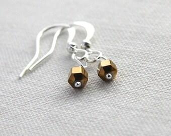 Statement Jewelry Petite Earrings Minimal Earrings Geometric Earrings Bronzed Hematite Stone Earrings Silver Earrings Tiny Hexagon Earrings